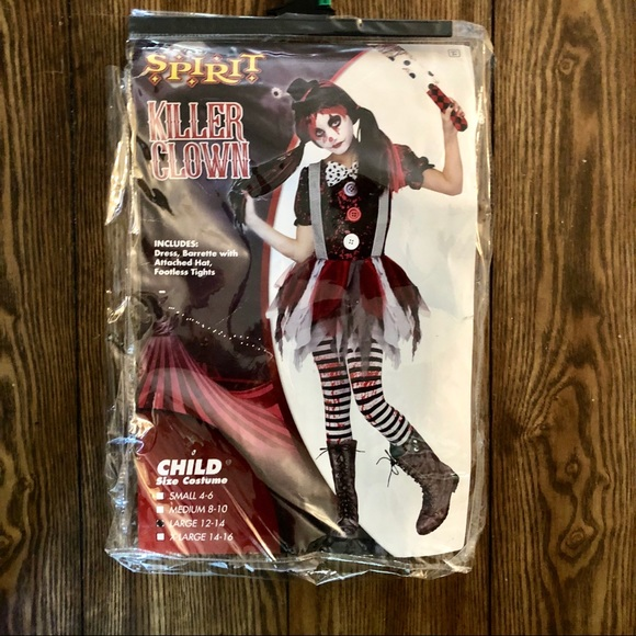 Killer Clown Halloween Costumes For Girls.Halloween Killer Clown Spirit Halloween Costume